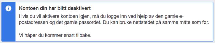 Facebook deaktivtert