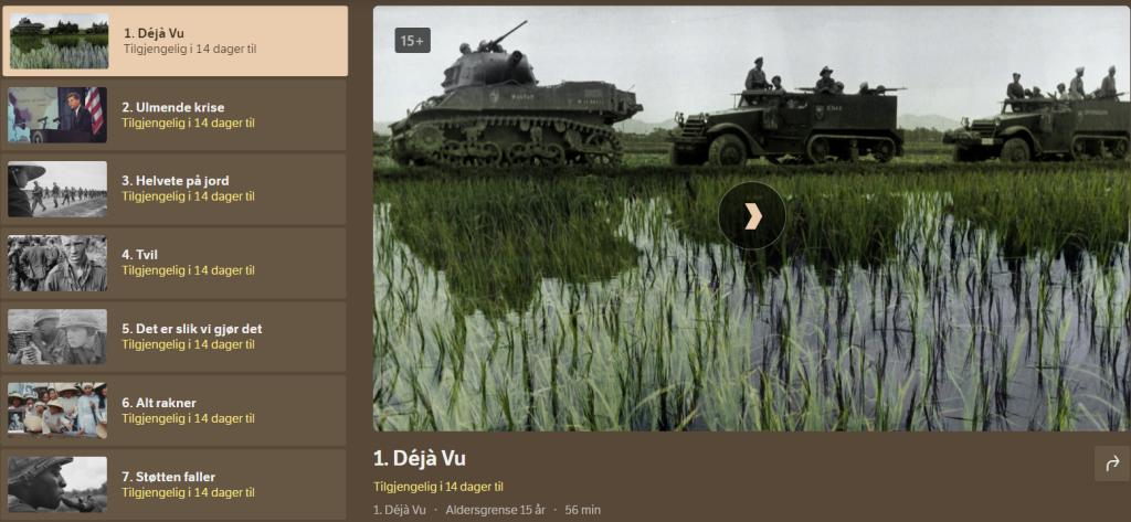 Skjermdump fra tv.nrk.no sin side for Vietnam-dokumentaren, som viser at programmer tilgjengelig i 14 dager til.